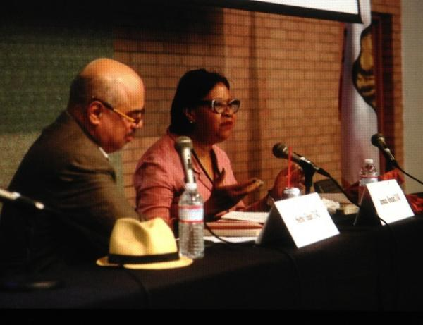 Jamaica Kincaid, speaking with Hector Tobar, shared her motivation for writing at the Festival of Books on Sunday.