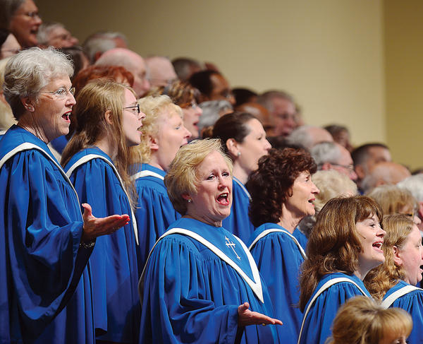 The National Christian Choir sings for a large audience Sunday at the Five Forks Church Brethren in Christ in Waynesboro.