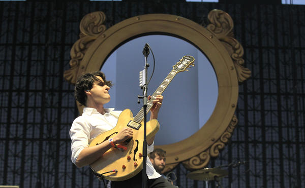 Ezra Koenig of Vampire Weekend performs at the 2013 Coachella Valley Music and Arts Festival in Indio.