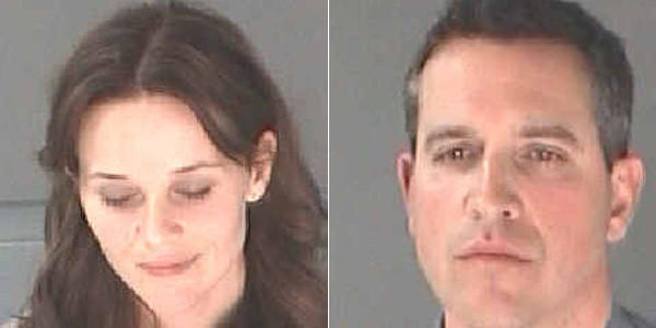 Reese Witherspoon, left, and her husband Jim Toth are seen in booking photos taken after being arrested in Atlanta on Friday.