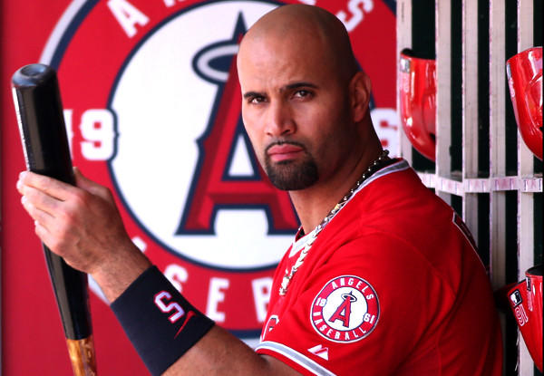 Angels slugger Albert Pujols awaits his turn to bat during the game against the Tiger on Sunday.