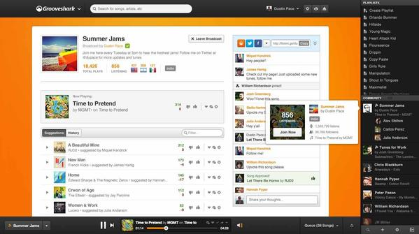 """A screen grab of a new feature dubbed """"Broadcast"""" at Grooveshark, a controversial online music-on-demand service."""