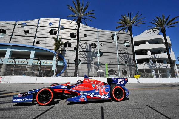 IndyCar series driver Marco Andretti drives the course during the Long Beach Grand Prix.