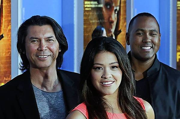"Actors Edward James Olmos, left, Lou Diamond Phillips and Gina Rodriguez partnered with directors Youssef Delara and Michael D. Olmos (son of James), right, on the movie ""Filly Brown,"" which also stars the late Norteno singer Jenni Rivera."