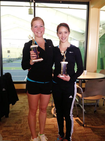 Petoskeys Gabby Jensen (left) and Sydney Chambers won the No. 2 and No. 3 singles flight titles, respectively, Saturday at the Grand Rapids Forest Hills Northern Quad tournament.