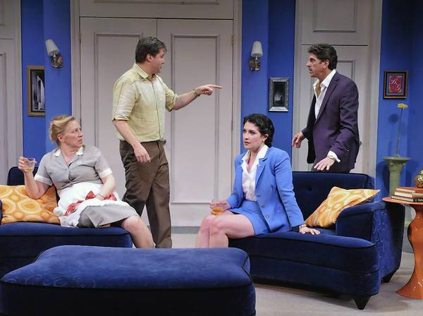"Nanna Ingarversson, Paul Edward Hope, Kelsea Edgerly and James Whalen in a scene from Rep Stage's ""Boeing Boeing."""