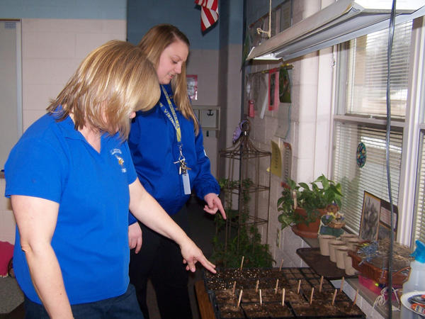 Tonia Keller, coordinator of Alanson Public Schools Stretch program (left) and Kayla Schlappi describe the future seedlings which will be planted in the schools new sensory garden when weather permits. Keller and the Stretch program received a grant from the National Gardening Association for $500 from Home Depot to help build the garden.