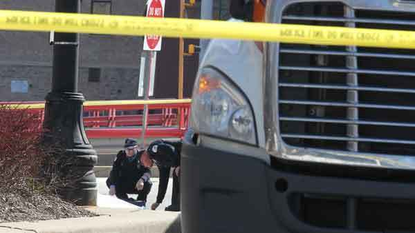 Chicago police on the scene of a West Loop accident in which a female pedestrian was killed.