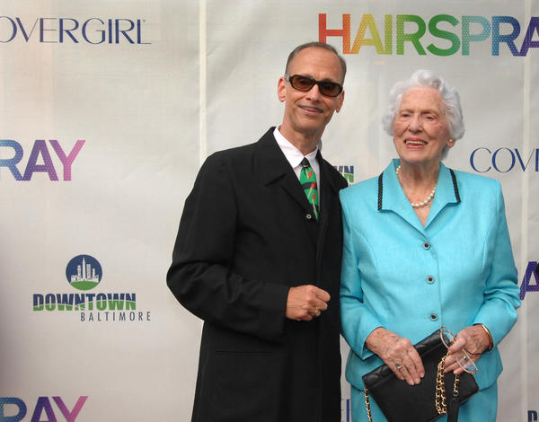 "John Waters posed with his mother, Patricia, outside the Charles Theater before the Baltimore red carpet premier of ""Hairspray."""
