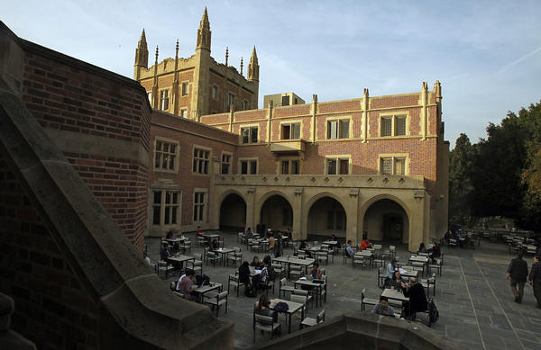 A courtyard behind Kerckhoff Hall is a popular gathering place for UCLA students. The campus is now tobacco-free.