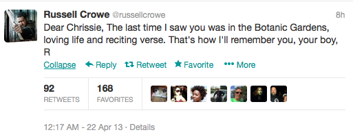 Australian actor Russell Crowe tweeted his goodbye to Divinyls singer Chrissy Amphlett.