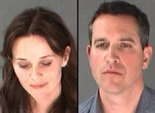 Reese Witherspoon and husband James Toth in mug shots from the city of Atlanta Department of Corrections.