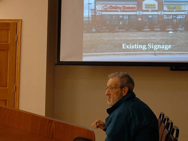 Homer Glen resident and business owner Bob Schmidt comments to the Homer Glen Plan Commission on April 15 about a proposal regarding signage regulations for businesses. At the same meeting, the commission voted to rezone the Purple Onion restaurant's property.