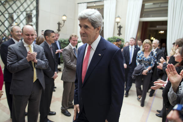 Secretary of State John F. Kerry arrives at the residence of Howard Gutman, U.S. ambassador to Belgium, in Brussels.