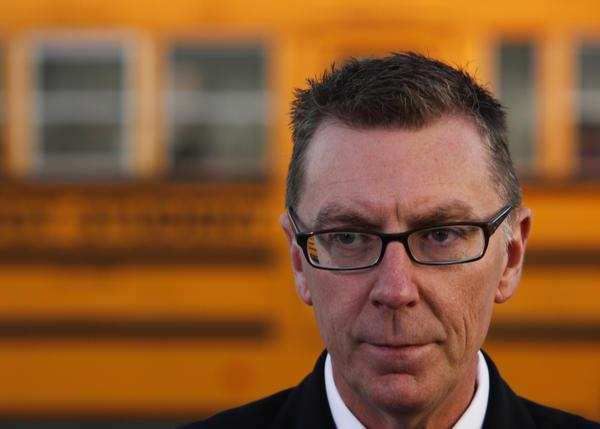 Superintendent of LAUSD, John E. Deasy addresses the media outside Gardena High School.