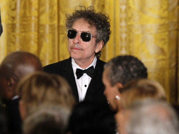 Bob Dylan is pictured at the White House at the ceremony at which President Obama presented him a Medal of Freedom.