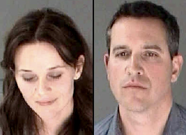 These booking photos provided by the Georgia Department of Corrections shows actress Reese Witherspon and her husband, Jim Toth.