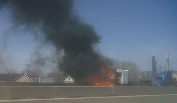 A fire in a semi-tractor truck blocked all outbound lanes of the Stevenson starting around 2:30 p.m. Monday.