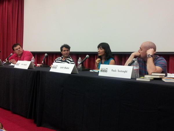 Oscar Villalon, left, Aris Janigian, Laleh Khadivi and Pauls Toutonghi discuss immigrant tales and history.