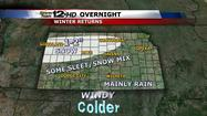 "<span style=""font-size: small;"">Rain and isolated storms will give way to some sleet and snow across central and western Kansas overnight, which may cause some slick roads early Tuesday.</span>"