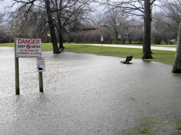 Several areas at Danny Cunniff Park in Highland Park were still flooded on Friday, following a major rainstorm the previous day that drenched the region.