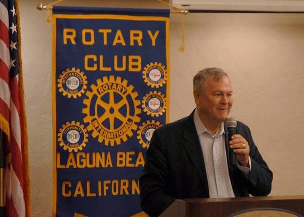 U.S. Rep. Dana Rohrabacher speaks at the Laguna Beach Rotary Club's weekly luncheon Friday.