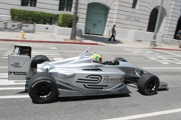 A new Formula E electric race car and a race in 2014 - Formula E car