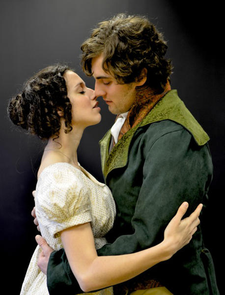 Caitlin McWethy and Michael Ryan Neely as Elizabeth and Darcy in the Annapolis Shakespeare Company production of Pride and Prejudice, continuing through April 27 at Bowie Playhouse in White Marsh Park. Photo courtesy Annapolis Shakespeare Company