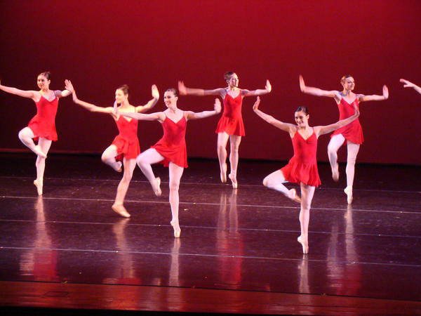 "Dancers perform the ""Red"" number of a red, white and blue trio as part of the Director's Choice production at Ballet Theatre of Maryland. Photo by Bud Johnson for The Baltimore Sun"