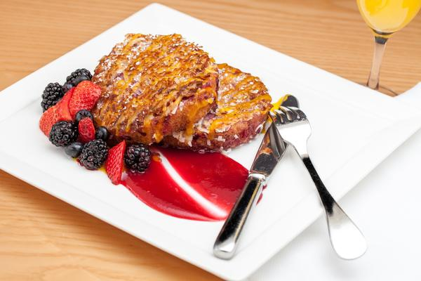 Caribbean French toast, topped with freshly shaved coconut, will be among the Mother's Day offerings at Central Michel Richard at Caesars Palace in Las Vegas.