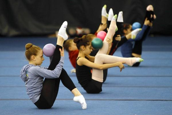 In this 2010 Tribune file photo, students warm up during rhythmic gymnastics practice at the Sachs Recreational Center, 455 Lake Cook Road, in Deerfield.