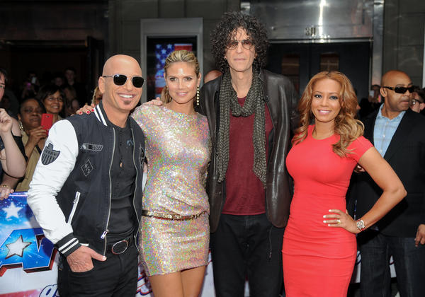 "Howie Mandel, left, Heidi Klum, Howard Stern and Melanie ""Mel B."" Brown arrive at the ""America's Got Talent"" auditions on April 9, 2013, in New York."