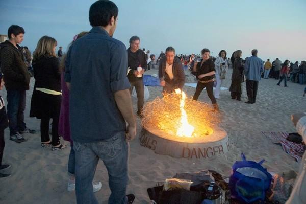 Fire pits like this one in Newport Beach face a ban for air quality reasons.