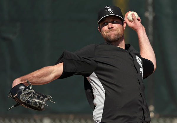 Chicago White Sox' John Danks during spring training at Camelback Ranch in Glendale, Arizona on Sunday, Feb. 17, 2013. (Scott Strazzante/Chicago Tribune) B582724835Z.1 ....OUTSIDE TRIBUNE CO.- NO MAGS, NO SALES, NO INTERNET, NO TV, CHICAGO OUT, NO DIGITAL MANIPULATION...