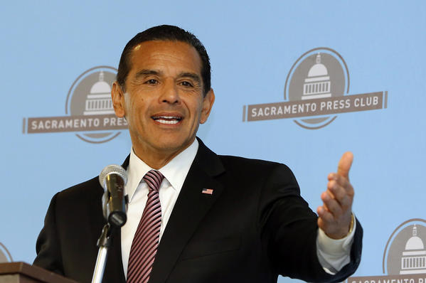 Los Angeles Mayor Antonio Villaraigosa speaks before the Sacramento Press Club on April 16. On Monday, Villaraigosa released his latest budget proposal, the final one of his two terms in office.