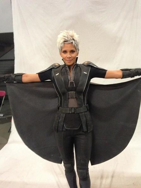 "Halle Berry in costume as Storm for ""X-Men: Days of Future Past."""