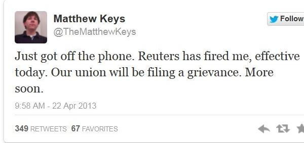 Matthew Keys tweeted the news of his firing Monday.