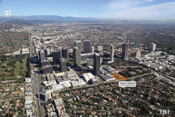 The site in Century City where new homes will be built by California Landmark Group is outlined.