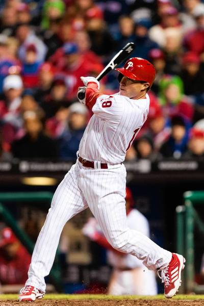 The Phillies' Laynce Nix hits an RBI double against the St. Louis Cardinals at Citizens Bank Park.