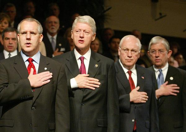 After the Oklahoma City bombing, President Clinton, second from left, insinuated that Rush Limbaugh and his imitators were partly to blame.