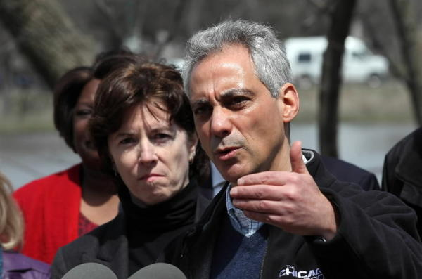 Mayor Rahm Emanuel, seen here Sunday talking about Albany Park flooding, said Monday the city is reviewing its medical response plan in light of the Boston bombing.
