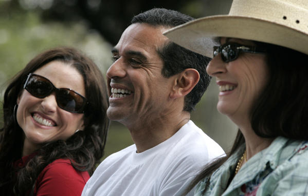 Julia LouisDreyfus, left, and Anjelica Huston, right, were among the celebrities present during Mayor Antonio Villaraigosa's announcement detailing his million trees initiative at Hazard Park in Boyle Heights.