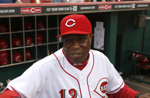 Apr 18, 2013; Cincinnati, OH, USA; Cincinnati Reds manager Dusty Baker prepares in the dugout prior to a game with the Miami Marlins at Great American Ball Park. Mandatory Credit: David Kohl-USA TODAY Sports ORG XMIT: USATSI-120762