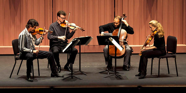 The Philharmonic Society presents the St. Lawrence String Quartet performing a new piece by Osvaldo Golijov at the Irvine Barclay Theatre.