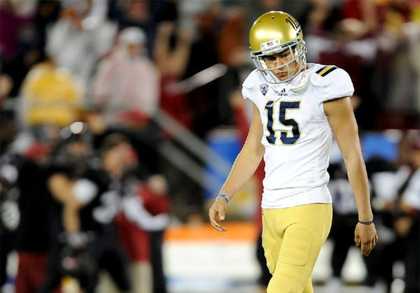 UCLA kicker Ka'imi Fairbairn walks off the field after missing a field goal against Stanford.