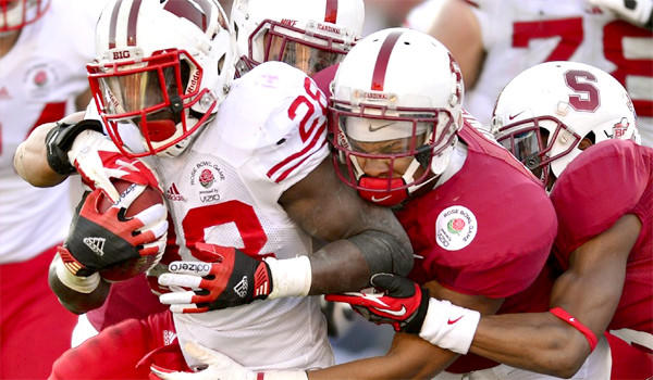 Wisconsin running back Montee Ball is stopped by the Stanford defense in the 99th Rose Bowl in Pasadena on Jan. 1, 2013.