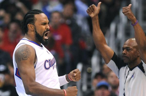 Clippers big man Ronny Turiaf celebrates after forcing a jump ball.