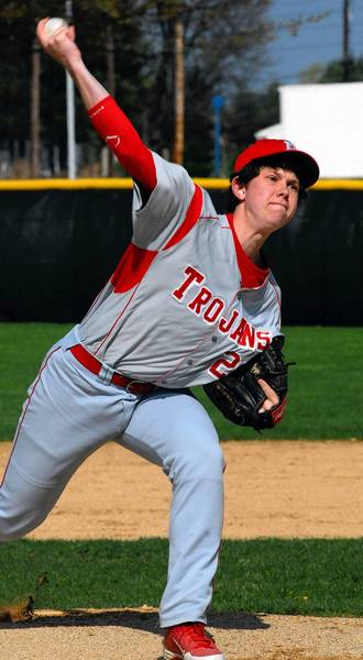 Parkland pitcher Tyler Duff fires a pitch toward the plate in the Trojans' LVC game against Freedom on Monday at Freedom High School in Bethlehem Township.