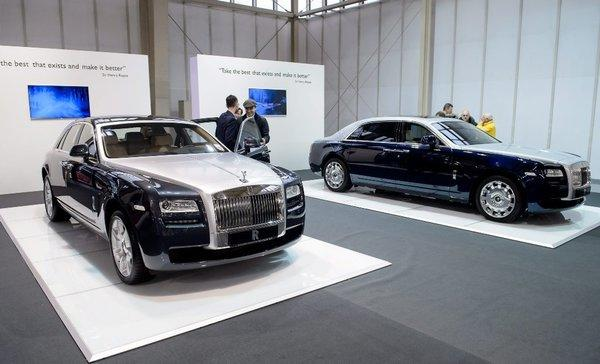 The Rolls-Royce Ghost car was on display at the Poznan International Motor Show in Poznan, Poland. U.S. regulators say that 10 of the cars have been recalled because they got the wheel size wrong on the tire labels.