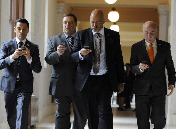 "Mark Consuelos, left, John Goodman, Clark Johnson and Matt Malloy in ""Alpha House,"" a comedy pilot from Amazon Studios."